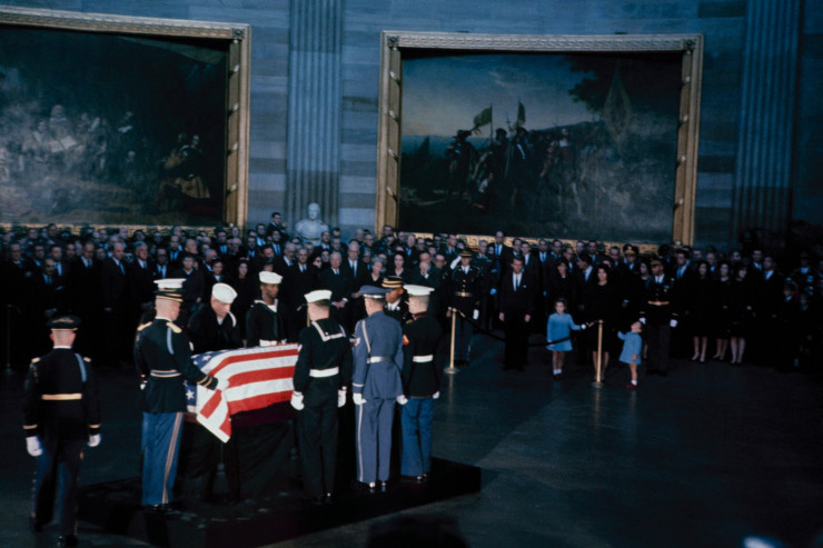 John F. Kennedy's flag-draped casket lies in state in Washington, D.C., November 1963.