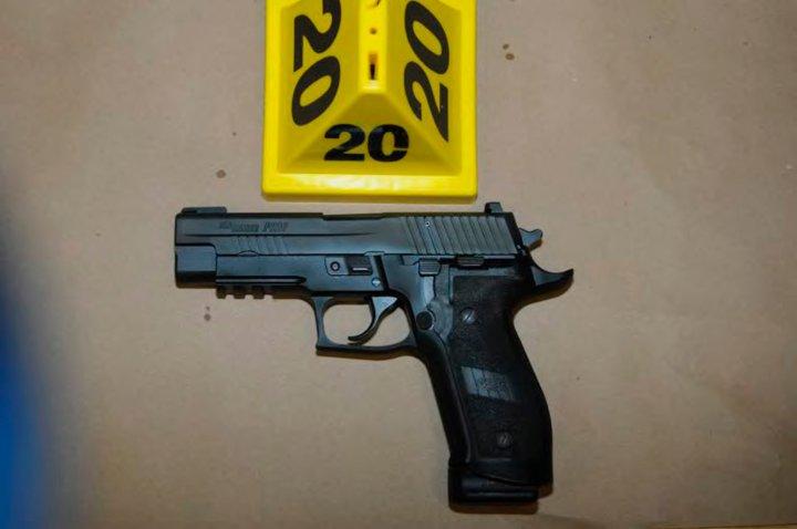 A Sig Sauer pistol belonging to Sandy Hook Elementary school gunman Adam Lanza in police evidence photo