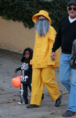 Sandra Bullock Trick or Treating with her child on October 31, 2013, in North Hollywood, Calif.