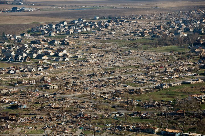 An aerial image shows the devastation caused by a tornado which struck the town of Washington, Ill., on Nov.18, 2013.
