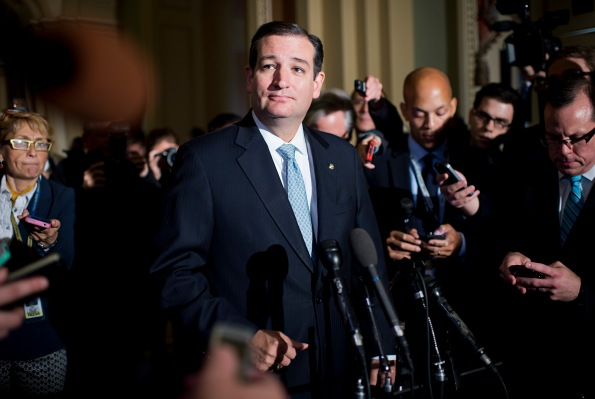 Sen. Ted Cruz hosts a press conference following the end of the government shutdown