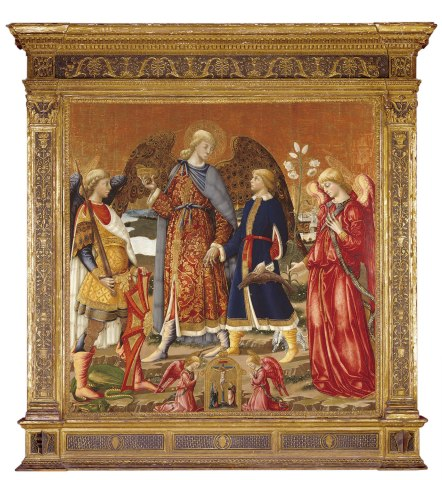 Tobias and Three Archangels, Neri di Bicci, 1471, tempera, gold, and silver on panel.