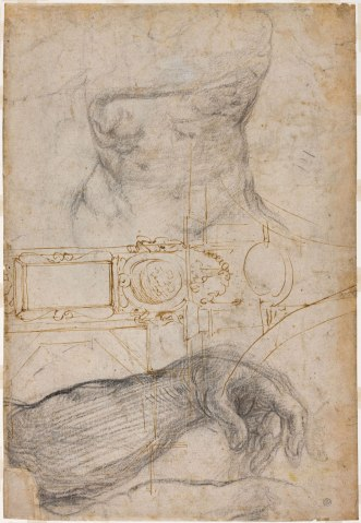micheScheme for the Decoration of the Ceiling of the Sistine Chapel, Michelangelo, c. 1508, pen and brown ink and black chalk on cream laid paper. langelo_detroit_institute