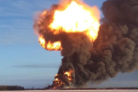 A fireball shoots up at the site of a train derailment near the North Dakota town of Casselton, Dec. 30, 2013.
