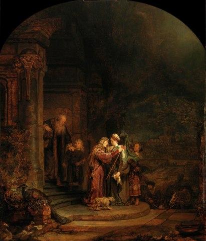 The Visitation, Rembrandt van Rijn, 1640, oil on oak panel.