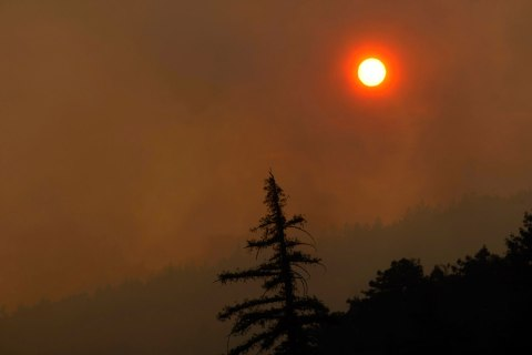 Thick smoke from wildfires in Big Sur, Calif., on Dec. 16, 2013.