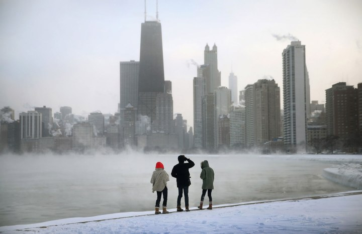 Mist rises from Lake Michigan at North Avenue Beach, on Jan. 6, 2014 in Chicago.
