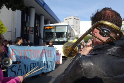 Bus protest brass band