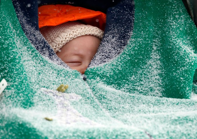 Two-month-old Jack Hsi takes a nap sheltered in his baby carrier while snow falls in Boston, Jan. 2, 2014.