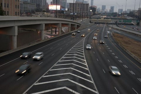 Traffic is light during the afternoon commute in Atlanta, February 11, 2013.