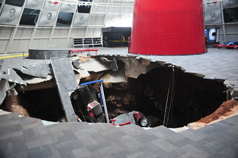 Several cars collapsed into a sinkhole at the National Corvette Museum in Bowling Green, Ky., Feb. 12, 2014.