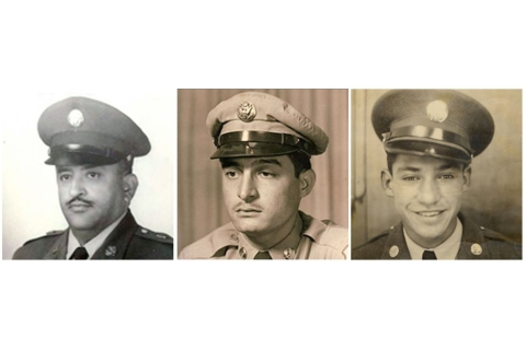 These images provided by the U.S. Army show Korean War veterans, from left, Sgt. 1st Class Eduardo Corral Gomez, Master Sgt. Juan E. Negron and Master Sgt. Mike C. Pena, who are among 24 minority veterans receiving the Medal of Honor.